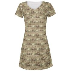 Grizzly Bear Adirondack Pattern Tan All Over Juniors V-Neck Dress