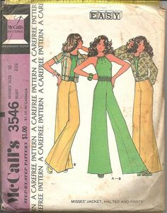 1970s Mega Flares Wide Flare Pants Halter Top Cropped by kinseysue