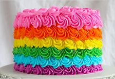 All the types of buttercream discussed. ...  Rainbow Buttercream Cake by Craftsy Instructor Amanda Rettke