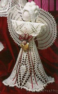 My handmade Angels crochet 19 Crochet Angel Pattern, Crochet Angels, Crochet Butterfly, Crochet Diagram, Irish Crochet, Fabric Christmas Trees, Crochet Christmas Decorations, Crochet Ornaments, Christmas Crochet Patterns