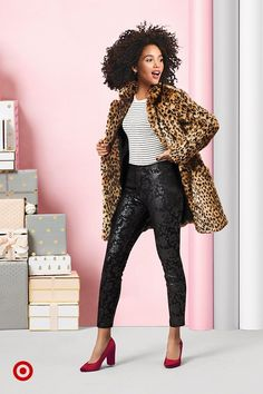 526f7670 Up their style game even more with a leopard faux fur coat & burgundy block  pumps