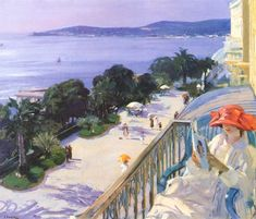 Sir John Lavery Irish 1856 - 1941 The Terrace, Cap d'Ail Moritz Von Schwind, Matisse, People Reading, Irish Painters, Social Art, Irish Art, Classic Paintings, Impressionist Paintings, Oil Painting Reproductions