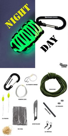 Paracord Survival Pod. Includes carabiner, fishing line, knife blade, fishing hooks, weights, floats, swivels, tinder and tin foil.