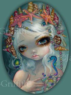 Seashell Princess mermaid fairy art print by by strangeling, $13.99
