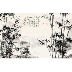 Papier peint chinois-Paysage avec les bambous en noir et blanc