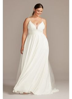 Illusion Deep-V Spaghetti Plus Size Wedding Dress Style Soft White, dresses plus size davids bridal Sleek Wedding Dress, How To Dress For A Wedding, Plus Size Wedding Gowns, Plus Size Cocktail Dresses, Best Wedding Dresses, Plus Size Dresses, Elegant Wedding, Spaghetti Strap Wedding Dress, Spaghetti Straps