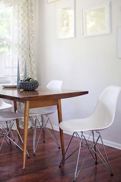#dining-room, #modern, #dining-chair, #dining-table, #paint-color, #neutral, #midcentury, #walls  Photography: Heidi Geldhauser - ourlaboroflovebyheidi.com/ Design & Styling: Christina Loucks - christinaloucks.wordpress.com/  Read More: http://www.stylemepretty.com/living/2013/07/08/christina-loucks-home-tour/