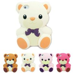 White 3D Teddy Bear Cute Animal Cartoon Silicon Soft Cover Case for iPhone 4 4S | eBay