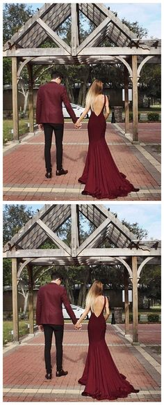 Mermaid Prom Gowns Burgundy Backless Prom Gown Open Backs Long Party Dress For Teens
