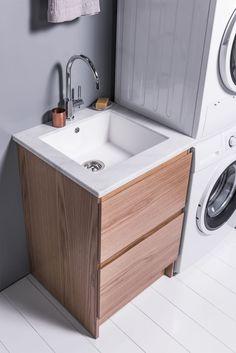 600 Laundry Cabinet #BathCo #MichelCesar #VCBC #Bathroom #BathroomIdeas #BathroomInspiration #NZMade Laundry Cabinets, Bathroom Inspiration, Sink, Vanity, Design, Home Decor, Sink Tops, Dressing Tables, Powder Room