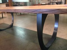 blackened steel table legs