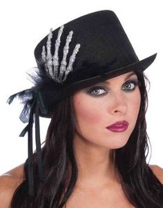 186c4c61 Features Black top hat with Skeleton glitter hand. Black top hat decorated  with black feather boa and glitter skeleton hand. Costume Shopper · Costume  Hats