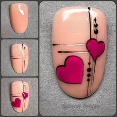 - Nail Art - Reposted from - Hallo und einen Mega Start in die neue Woche. Reposted from - Hello and a mega start to the new week. Today I want to show you another step by step . Diy Valentine's Nails, Nail Art Diy, Manicure, Valentine's Day Nail Designs, Nail Art Designs Videos, Heart Nail Art, Heart Nails, Gel Zehen, Nail Design Gold