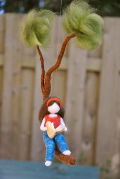 Girls Room Decor needle felted : Girl reading a book by MagicWool