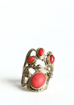 Red and gold feather detail ring. $16.00