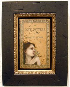 Oil & acrylic on antique book cover (framed)