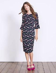 #Boden Delia Dress Navy Sprig Women Boden, Blue 40024715 #This high-impact dress features a figure-hugging pencil skirt and flattering fluted sleeves. Made from soft and stretchy material, youll feel as good as you look.