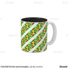 Colorfull Circles and rectangles design Two-Tone Coffee Mug