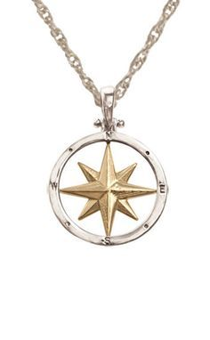 Compass Rose 14K gold framed in sterling