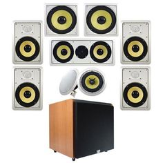 """7.2 HD In-Wall Speaker System (HD-728) w/15"""" Powered HD Sub HDSUB15C Acoustic Audio by Acoustic. $578.88. This Acoustic Audio 7.2 channel multi-speaker system consists of (4) rectangular front 8"""" HD in-wall speakers, (2) round rear 8"""" HD in-ceiling speakers, (1) center channel HD in-wall speaker, (2) 10"""" HD in-wall subwoofers, and (1) cherry 15"""" high definition powered sub. Each two-way speaker features polypropylene cones with soft dome tweeters and butyl rub... In Wall Speakers, Ceiling Speakers, Butyl Rubber, Speaker System, High Definition, Electronics, House Ideas, Speakers, Sash"""