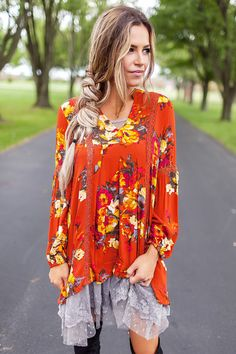 Floral V Tunic- Orange - Dottie Couture Boutique