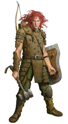 m Cleric Studded Leather Armor Shield Hammer Longbow lg Fantasy Male, Fantasy Warrior, Fantasy Rpg, Medieval Fantasy, High Fantasy, Fantasy Portraits, Character Portraits, Dnd Characters, Fantasy Characters