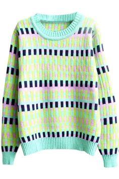 Colorido xadrez jacquard rodada pescoço manga longa camisola