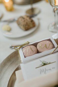 Edible wedding favor idea - macaroon wedding favors with gold calligraphy {Kari Dawson Weddings}