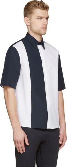 Marni White & Navy Colorblocked Shirt