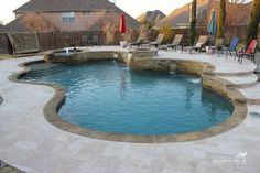 Travertine Pool Deck Pros and Cons . Travertine Pool Deck Pros and Cons . 71 Inspiring Swimming Pool Deck Ideas with Stone and Pavers Backyard Pool Landscaping, Backyard Pool Designs, Small Backyard Pools, Backyard Ideas, Small Pools, Outdoor Ideas, Outdoor Decor, Swimming Pools Backyard, Swimming Pool Designs