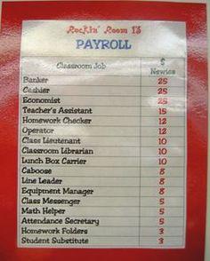 classroom economy- i want to do this!