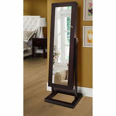 Eliza Java Jewellery Armoire Great to store lots of jewellery and reclining mirror easy to assemble----love it Jewelry Closet, Jewelry Armoire, Jewellery Storage, Condo Bedroom, Bedroom Decor, Java, Full Length Mirror Stand, Mirror With Led Lights, New Condo
