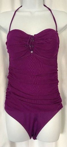 44b3b97aec Ralph Lauren Womens One-Piece Swimsuit Swimwear Halter Ruching Purple Size 8   RalphLauren