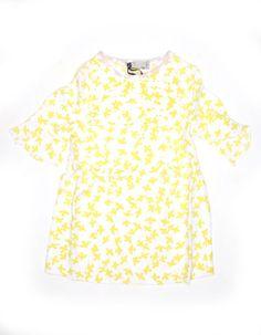 Witte zomerjurk met gele vogelprint - Stella Mccartney