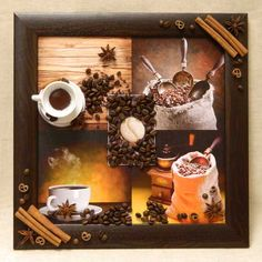 """Декор-картина """"Кофейный аромат"""". Фотопостер с эффектом 3D: декорирован натуральными зернами кофе, корицей и бадьяном, миниатюрной кофейной парой."""