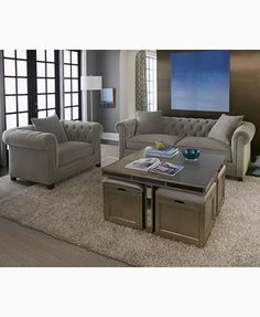 Ailey Cube Coffee Table with 4 Storage Ottomans, Created for Macy's | macys.com