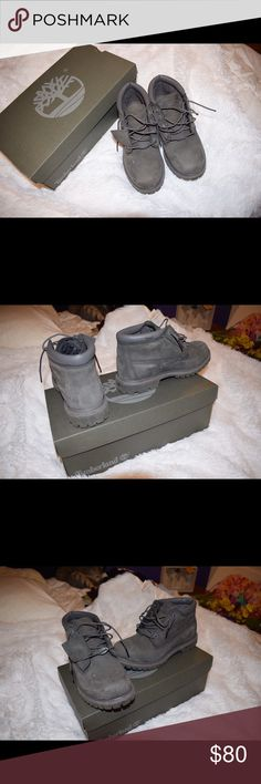 Women's Timberland Nellie Waterproof Chukka Boots These are dark gray (grey Nubuck specifically) Timberland's - not the light gray color they're mainly selling now. I'm usually a size 7 but in these I needed to go down to a 6.5 as you have to with most Timberland products. Barely worn so they're very well cared for. A little of the leather has peeled on the inside ankle of the right boot. Comes with original box Timberland Shoes Ankle Boots & Booties