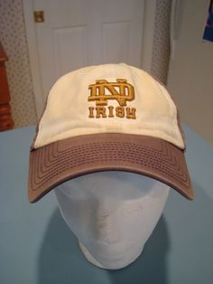 05287e44556e8 Notre Dame Ball Cap Sewn Gold Logo The Franchise Fitted Med. Faded Blue   amp