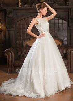 Corte de baile Escote redondo Cola corte Tul Vestido de novia con Encaje Bordado Lentejuelas (002054363)