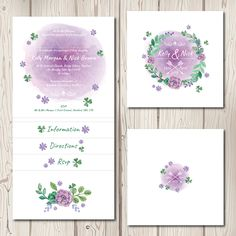 Spring Pocketfold Wedding Invitations  £2.75–£3.25  This pretty floral watercolur design features a wreath of beautiful flowers, leaves and clovers perfectly framing your names, this design would look gorgeous in any colour. Perfect for any rustic spring or summer wedding.