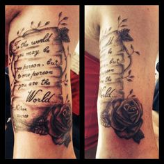 scroll tattoo with roses | Scroll and rose tattoo | Tattoo Love | Pinterest