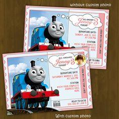 Thomas Train Invitation FOR GIRLS - Thomas and Friends Printable Birthday Invitation PINK - Thomas Train Birthday Ticket. $10.00, via Etsy.