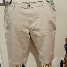 DG2 khaki colored Bermuda shorts Cotton spandex blend with three pockets. Runs large. Never worn. Diane Gilman Shorts Bermudas