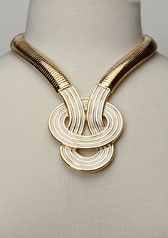 Necklace | Kenneth Jay Lane. 'Woven Oval'  22K gold-plated.