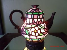Tiffany Style Polymer Teapot Lamp Mint Perfect by Great1Treasure, $29.99