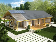 Projekt domu AC Eryk (z wiatą) CE - DOM - gotowy koszt budowy Modern Barn House, Modern House Design, House Plans Mansion, Style At Home, Bungalow Renovation, Bungalow Homes, Weekend House, My Ideal Home, Shed Homes