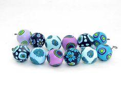 Flieder und türkis Perlenset aus Polymer Clay von polymerdesign