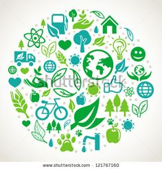 Vector ecology concept - round design element made from icons and signs by venimo, via Shutterstock