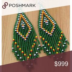 ..FESTIVAL SOUTHWESTERN BOHO ETHNIC BEAD EARRINGS Beautiful HANDMADE seed beaded earrings. Fish hook. -No trades. Artwork. The colors are AMAZING! 51Twenty Jewelry Earrings
