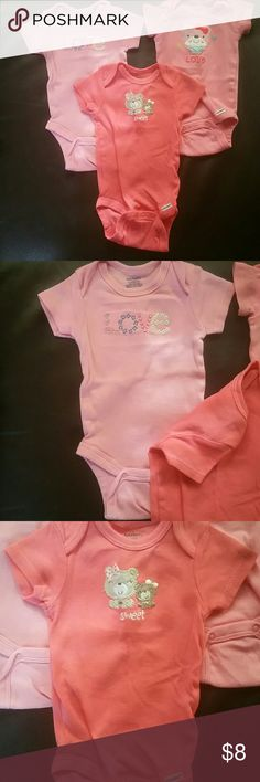 0-3 month love bundle Three cut pink one pieces. No stains. Gerber One Pieces Bodysuits
